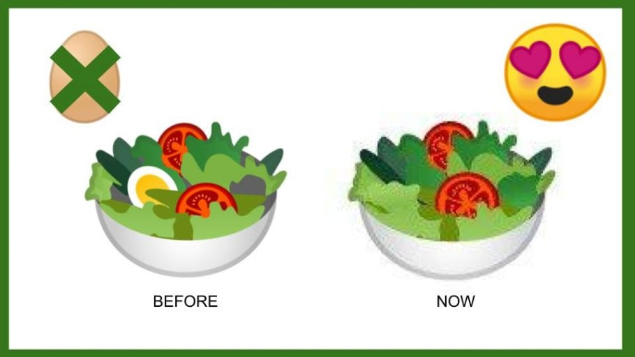 Veganism goes virtual after google emoji ditches eggs