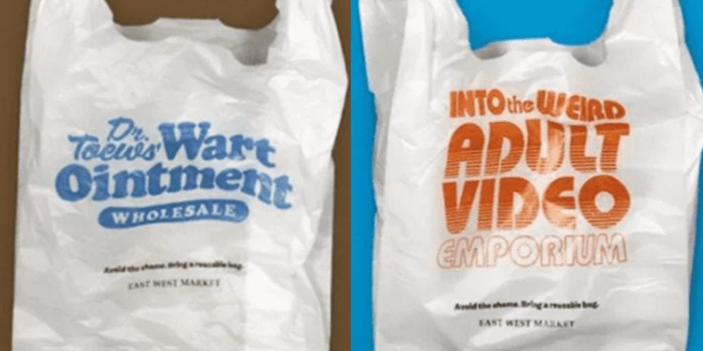 Grocery store shames plastic use with embarrassing bags