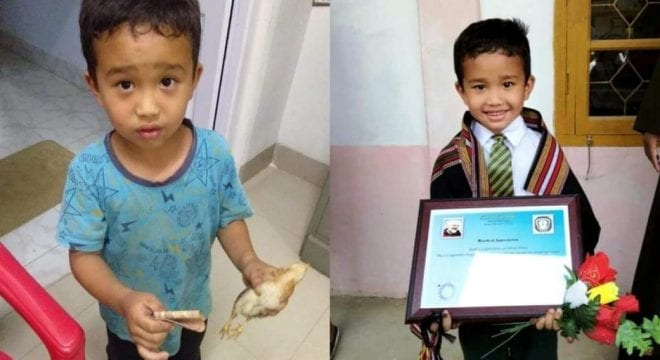 Boy rushes chicken to hospital