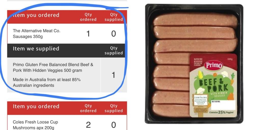 Online shopper disgusted after supermarket replaces out of stock vegan sausages with meat