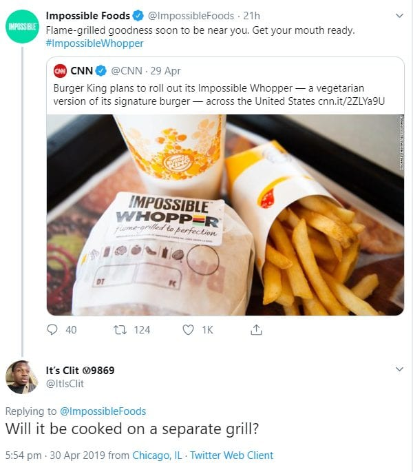 Twitter screenshot of Impossible foods