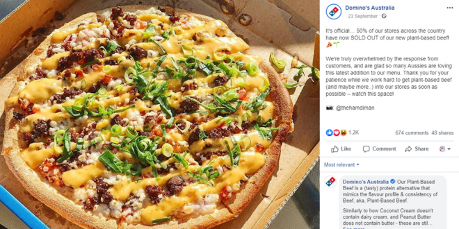 Dominos immediately sells out of vegan beef after launch in Australia