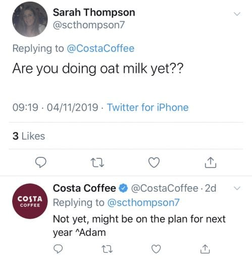 Costa Coffee to offer plant-based milk at no extra charge