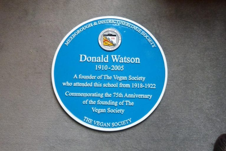 Mexborough school pays tribute to Vegan Society founder Donald Watson with blue plaque