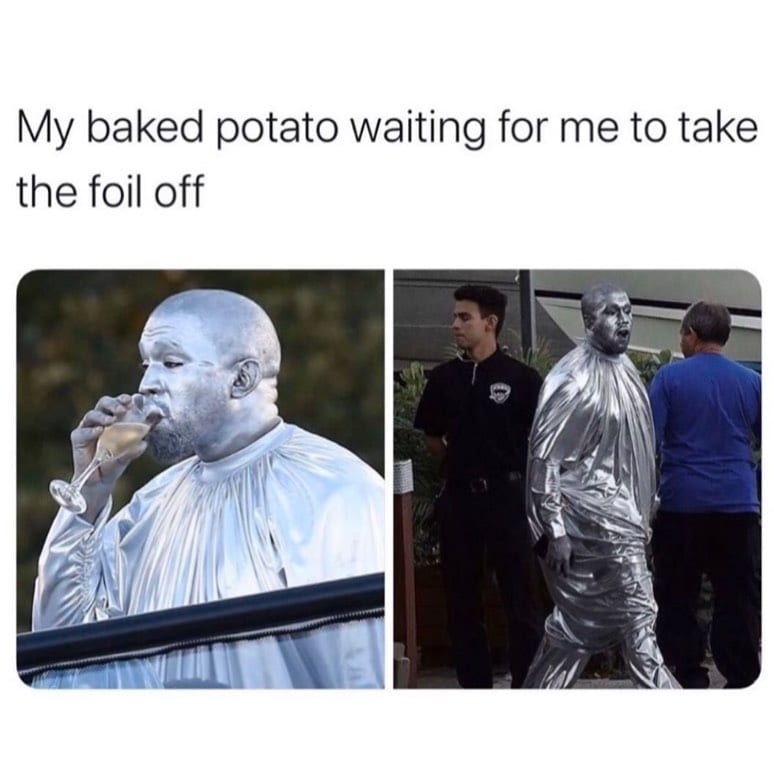 My baked potato waiting for me to take the foil off
