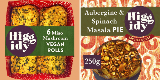 Pie company Higgidy to launch its first vegan roll. Two mushroom miso rolls in a packet by Higgidy, next to their new aubergine & spinach masala pie.