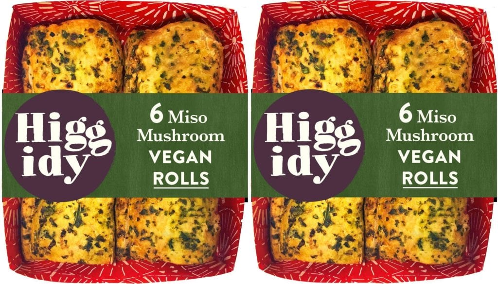 A box of two vegan miso mushroom pastry rolls from Higgidy. Pie company Higgidy to launch its first vegan roll