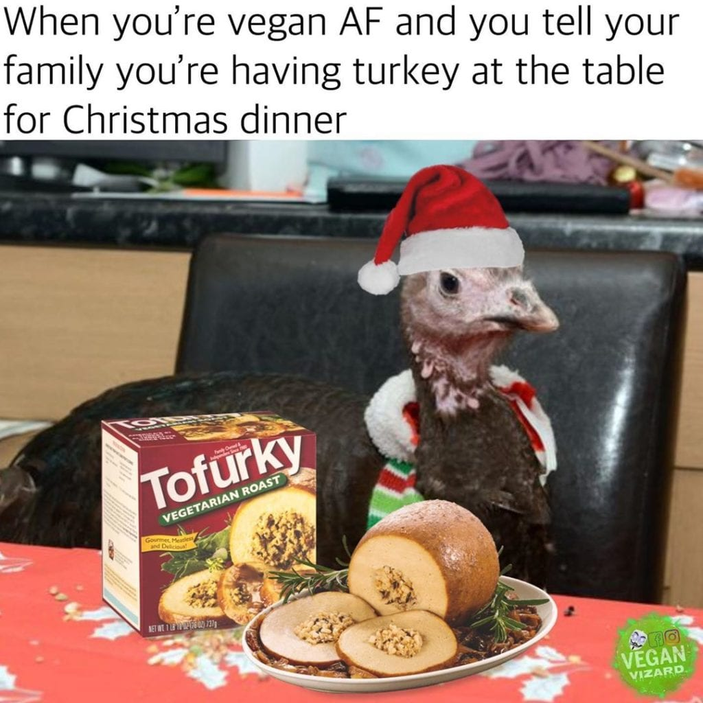 When you're vegan AF and tell your family you're having a turkey