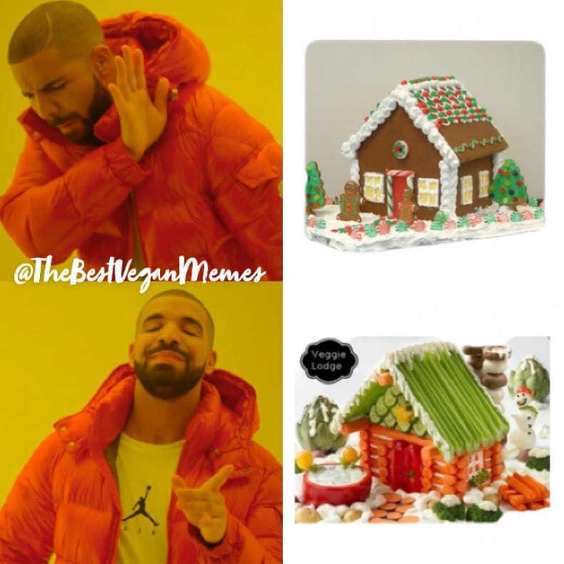 Why mess with a regular old gingerbread house when you can make a veggie lodge