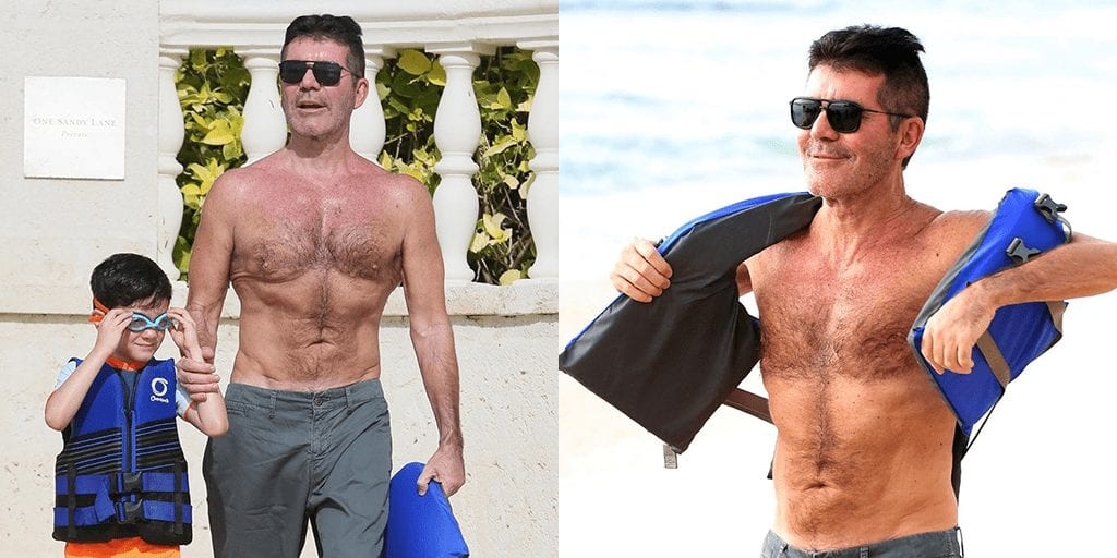 Simon Cowell hits the beach in Barbados with his son Eric for their annual Christmas holiday