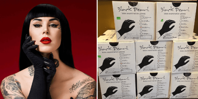 Kat Von D urges people to stop hoarding, donates entire supply of tattoo shop's gloves and aprons to local hospital