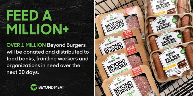 Beyond Meat to give away 1M+ vegan burgers to feed COVID-19 frontliners