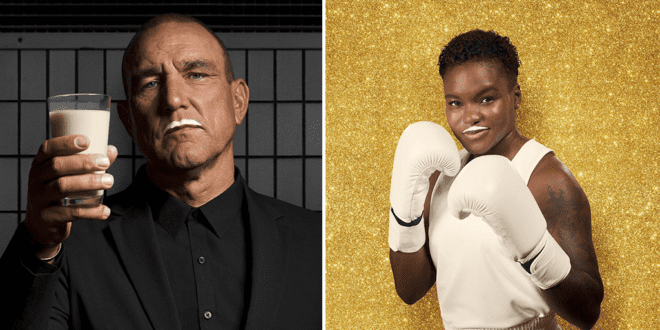 Vinnie Jones, Nicola Adams and Pixie Lott flaunt oat moustaches in a new vegan milk ad for Alpro
