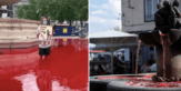 Trafalgar Square fountains turned blood red by vegan activists