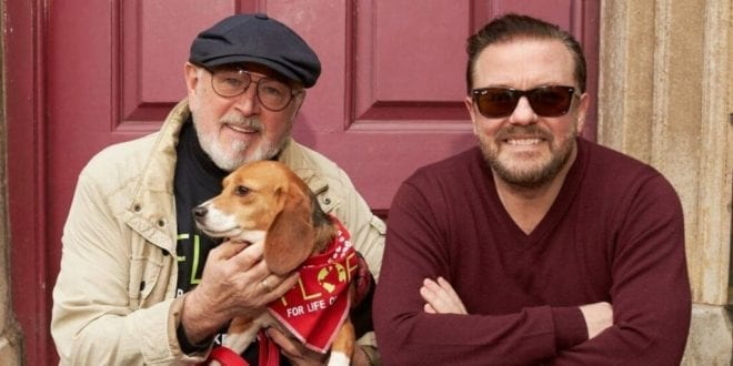 Ricky Gervais and Peter Egan call out UK's factory farm that breeds dogs for 'painful and terrifying' toxicity experiments